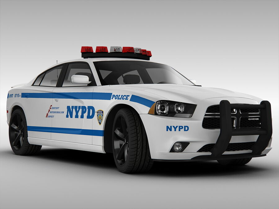 Samochód policyjny Dodge Charger NYPD (2013) royalty-free 3d model - Preview no. 4