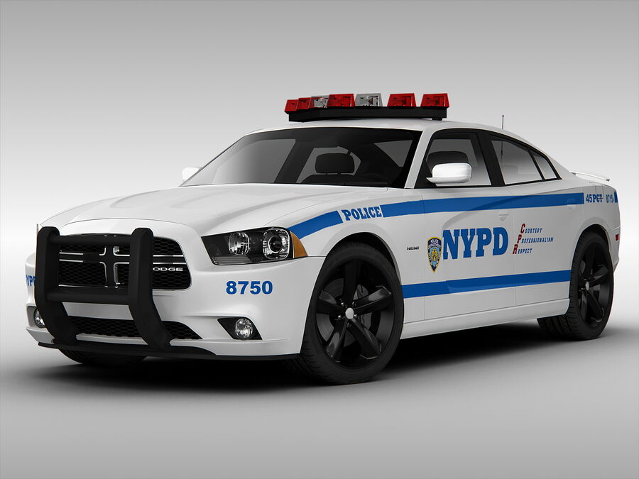 Samochód policyjny Dodge Charger NYPD (2013) royalty-free 3d model - Preview no. 1