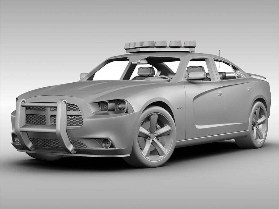 Samochód policyjny Dodge Charger NYPD (2013) royalty-free 3d model - Preview no. 6