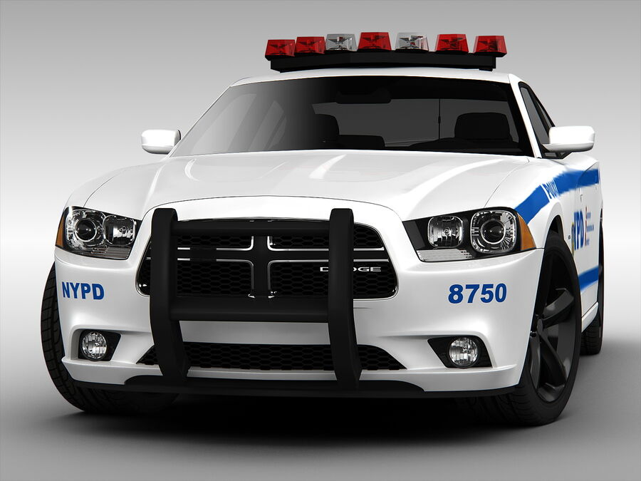 Samochód policyjny Dodge Charger NYPD (2013) royalty-free 3d model - Preview no. 5