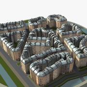 Paisaje urbano clásico - bajo poli modelo 3d