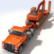 Låglastare och grävmaskin 3d model