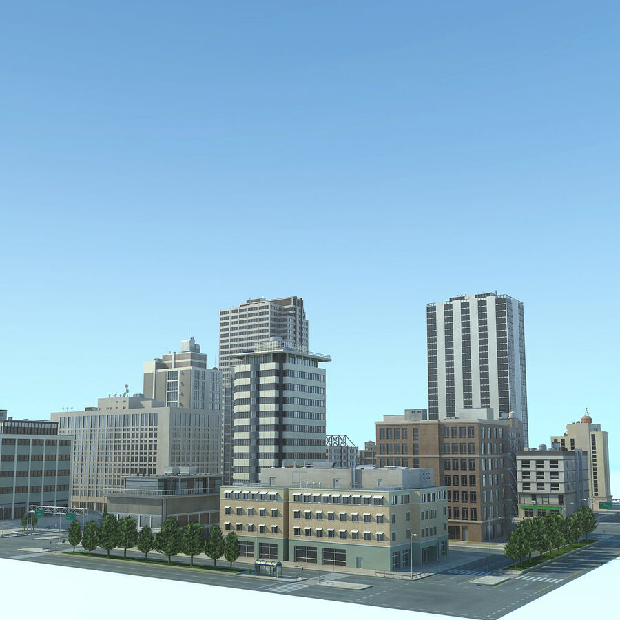 Stad gedetailleerd stadsgezicht 2013 royalty-free 3d model - Preview no. 6