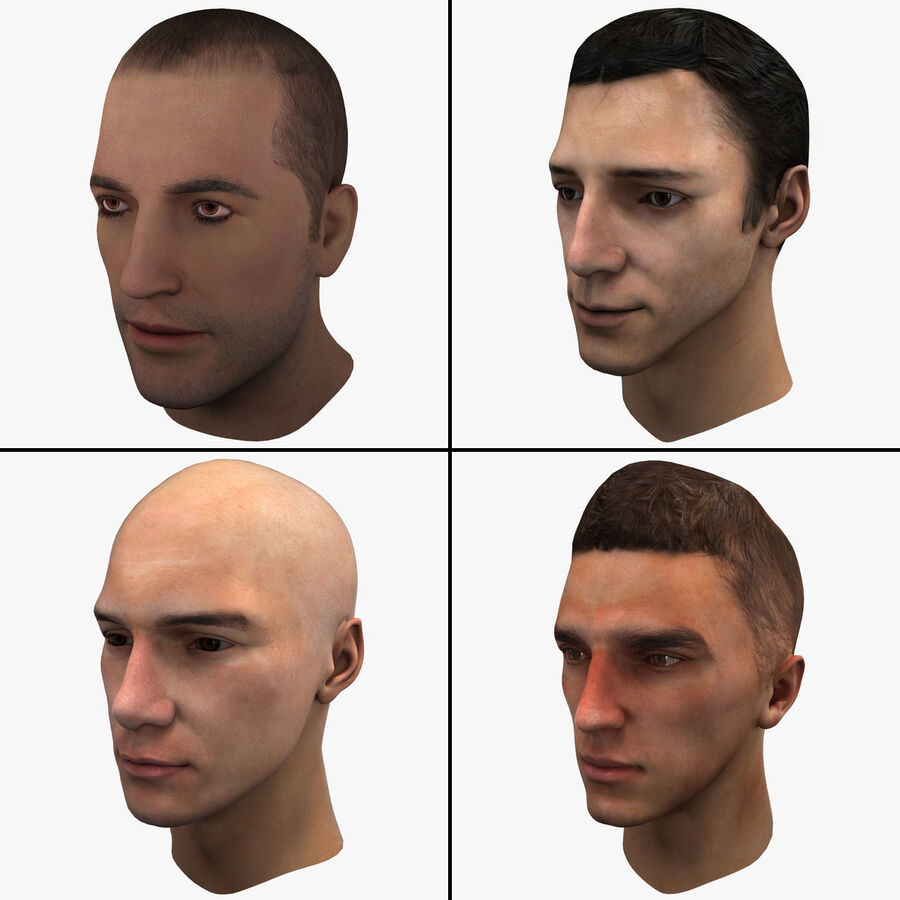 Male Head Collection royalty-free 3d model - Preview no. 1