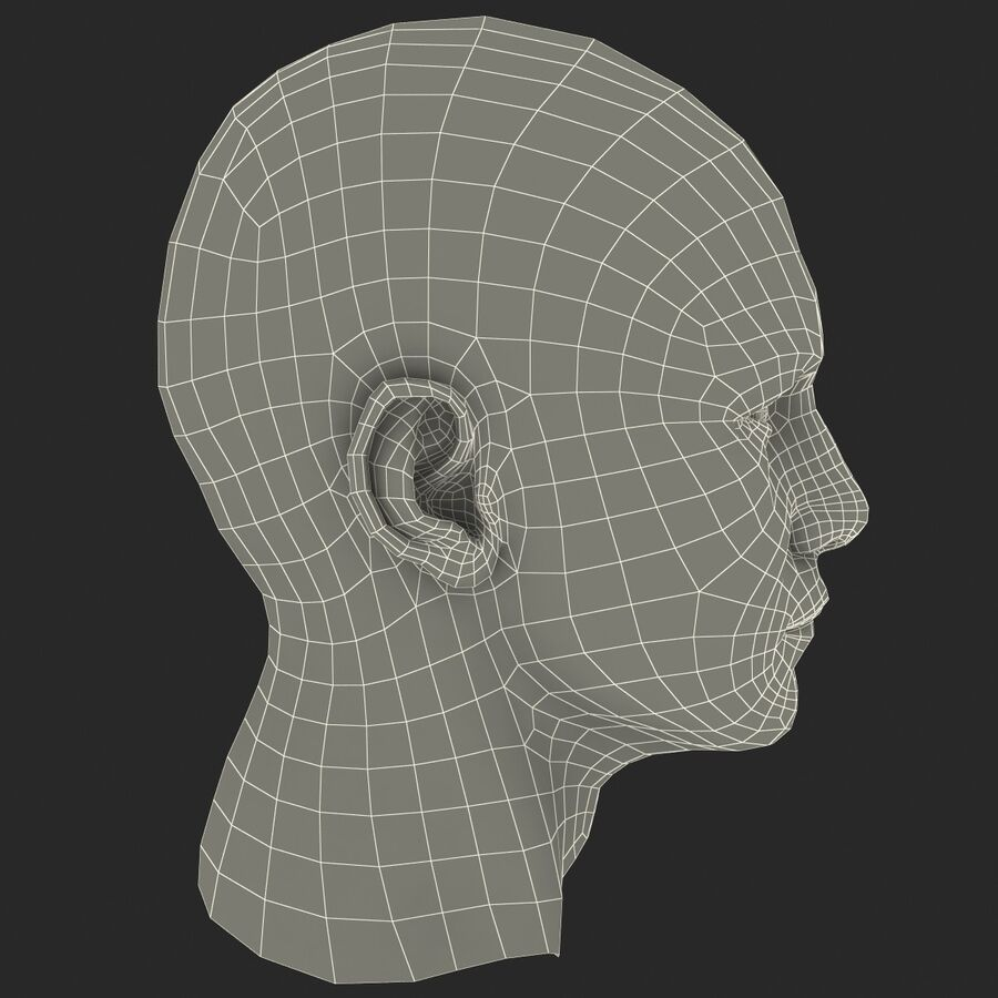 Male Head Collection royalty-free 3d model - Preview no. 68