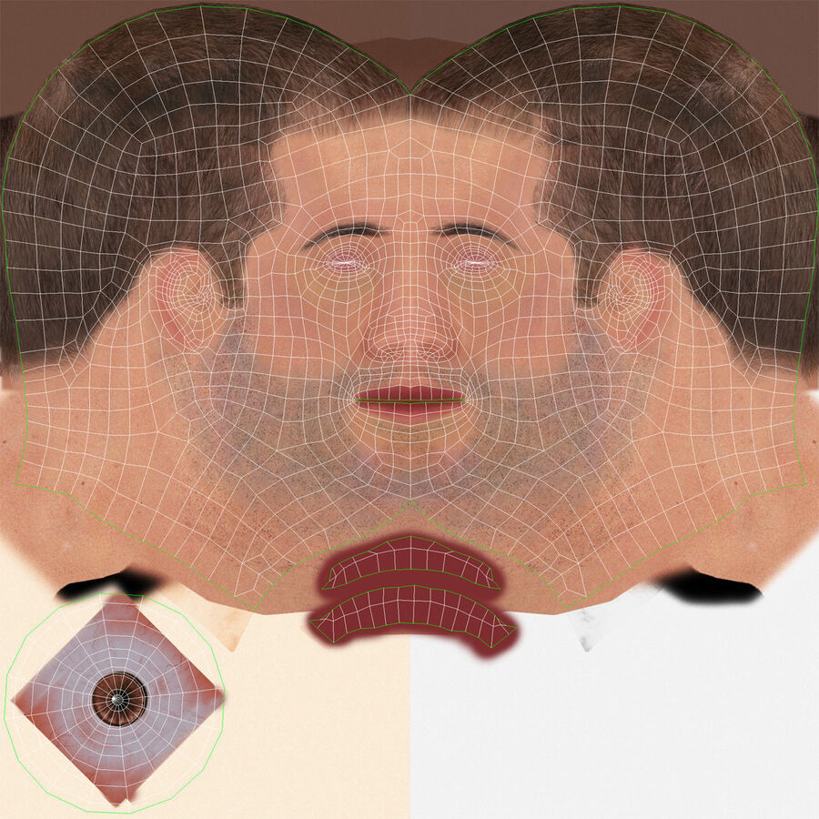 Male Head Collection royalty-free 3d model - Preview no. 27