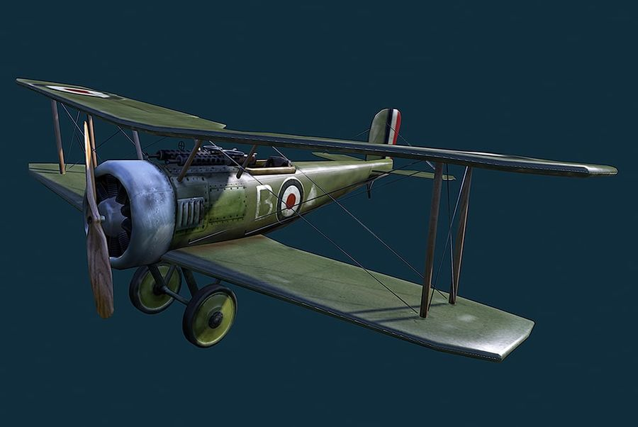 WWI Fighter plane royalty-free 3d model - Preview no. 1