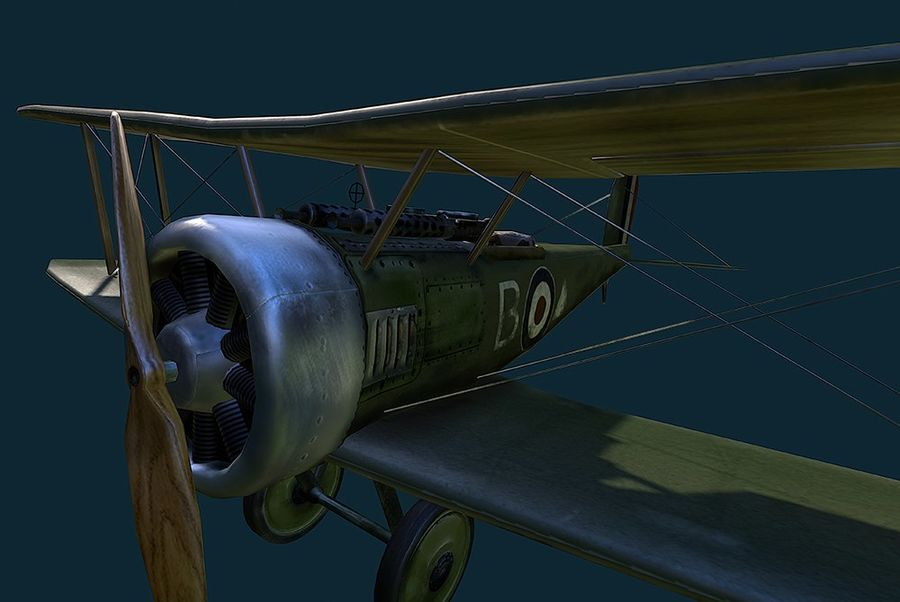 WWI Fighter plane royalty-free 3d model - Preview no. 2