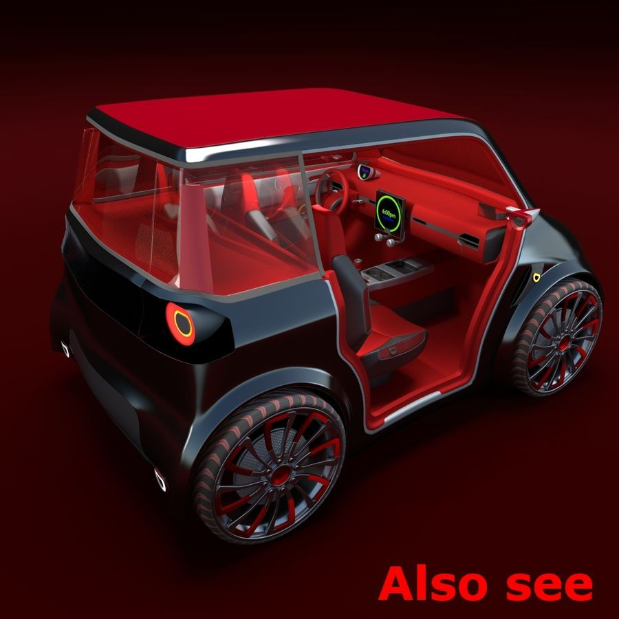Compact electric concept car 3 royalty-free 3d model - Preview no. 12