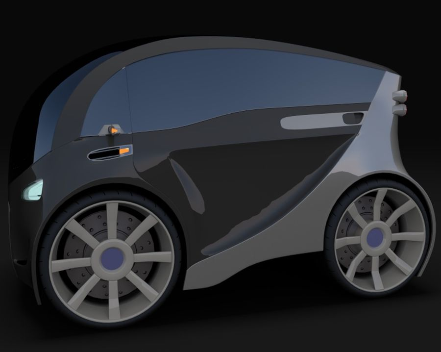 Compact electric concept car 3 royalty-free 3d model - Preview no. 3