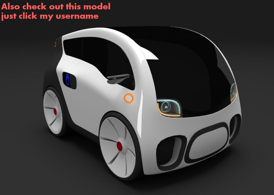Compact electric concept car 3 royalty-free 3d model - Preview no. 10