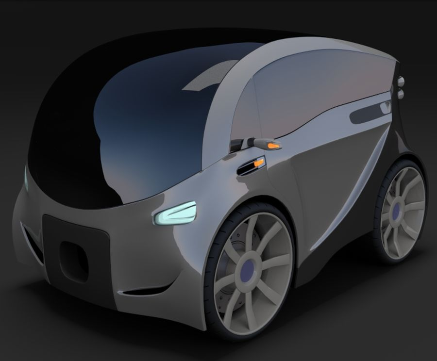 Compact electric concept car 3 royalty-free 3d model - Preview no. 1