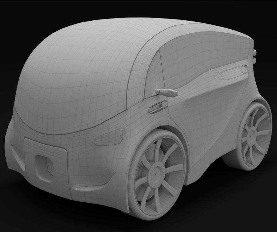 Compact electric concept car 3 royalty-free 3d model - Preview no. 8