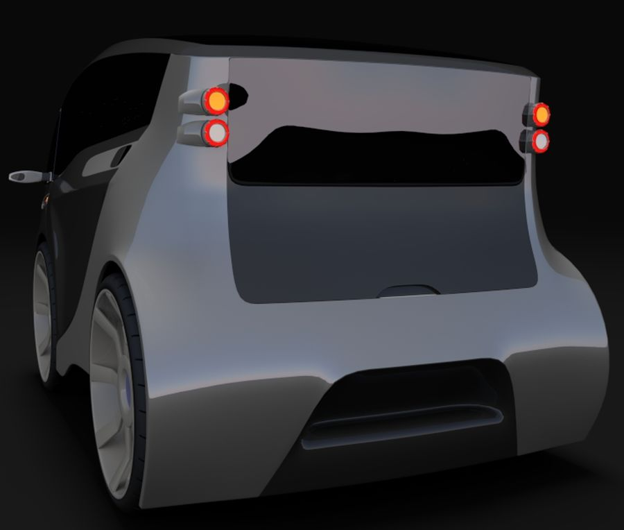 Compact electric concept car 3 royalty-free 3d model - Preview no. 6