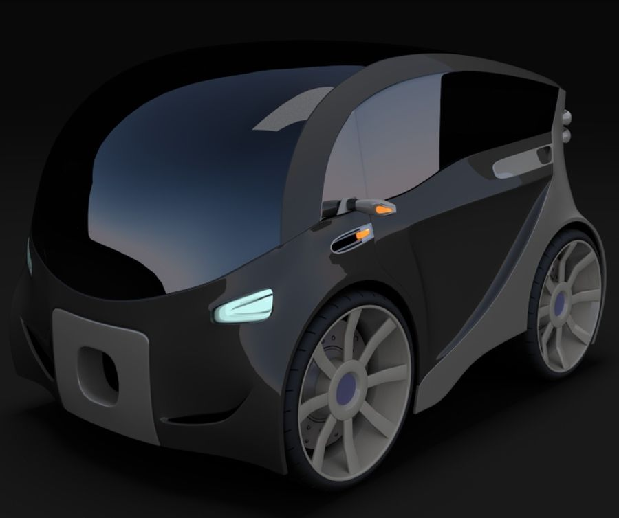 Compact electric concept car 3 royalty-free 3d model - Preview no. 2