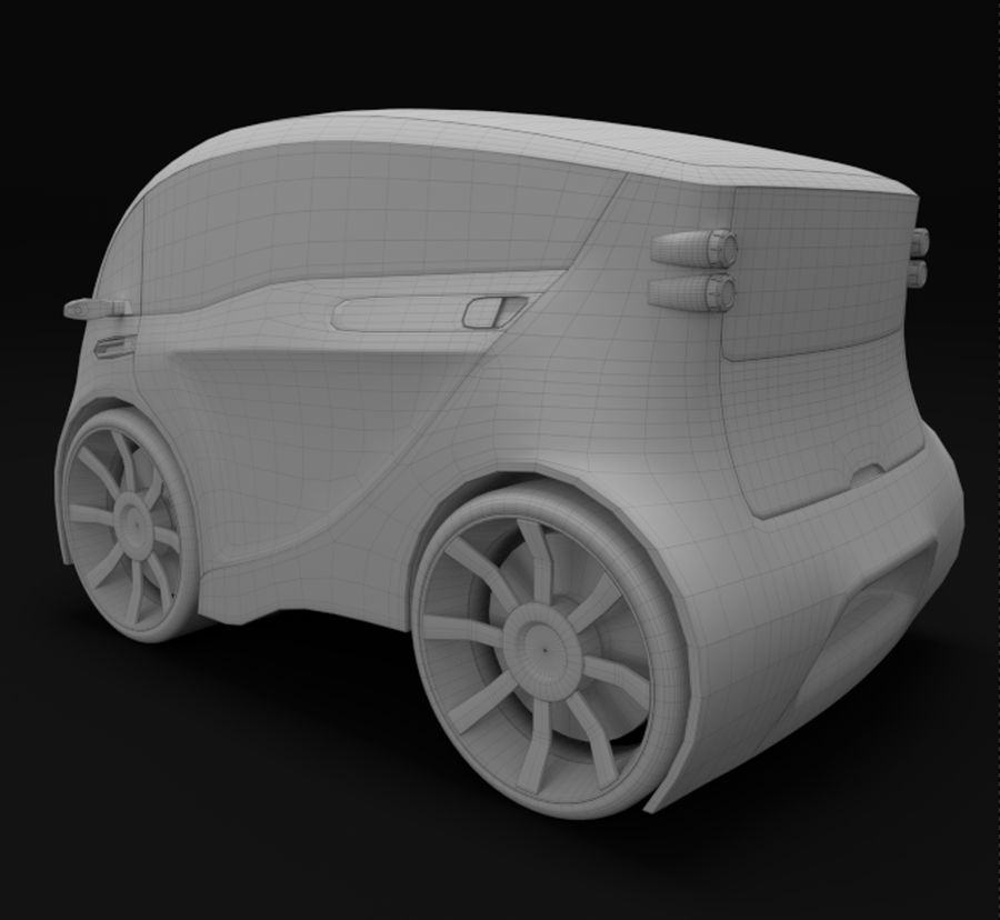 Compact electric concept car 3 royalty-free 3d model - Preview no. 9