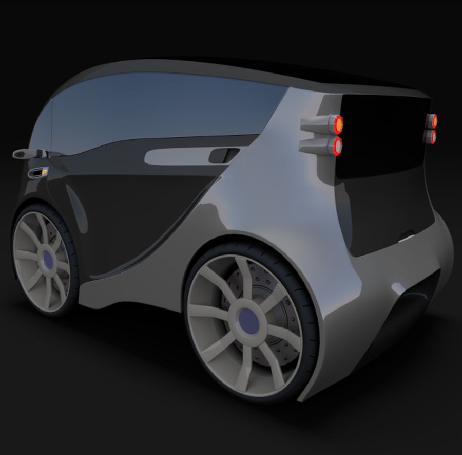 Compact electric concept car 3 royalty-free 3d model - Preview no. 5