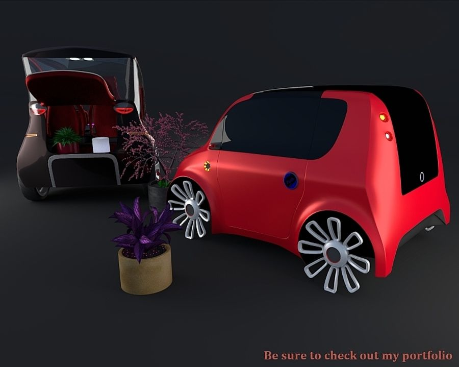 Compact electric concept car 3 royalty-free 3d model - Preview no. 13