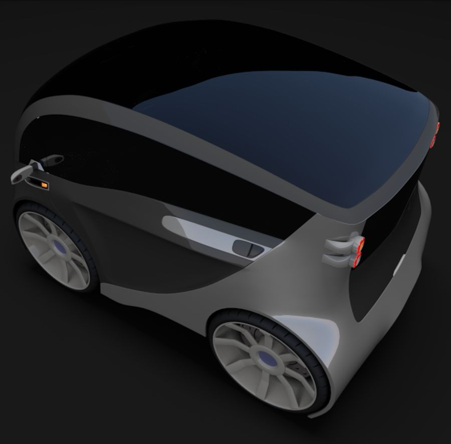 Compact electric concept car 3 royalty-free 3d model - Preview no. 7