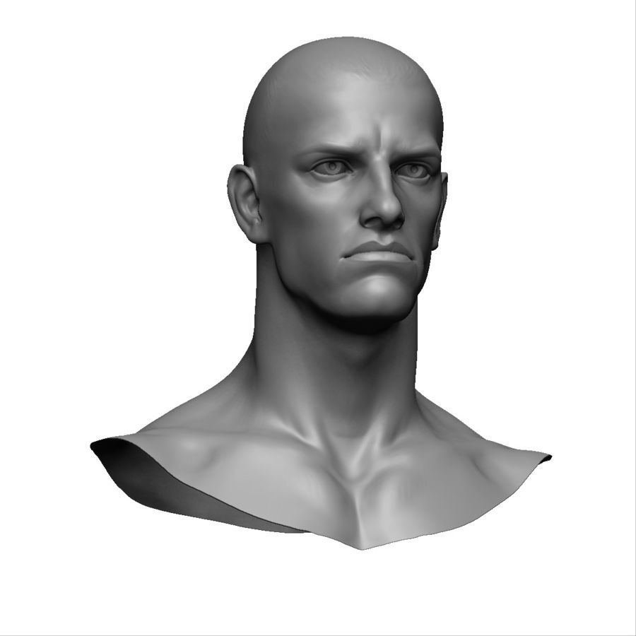 Strong man head royalty-free 3d model - Preview no. 4