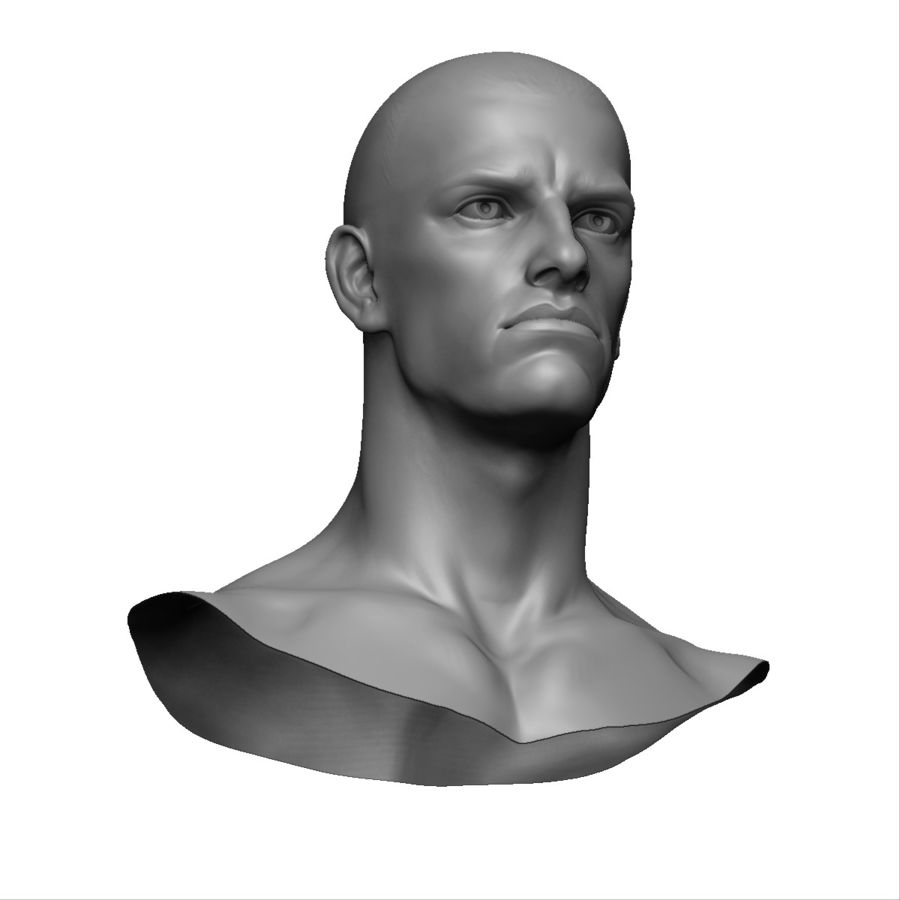 Strong man head royalty-free 3d model - Preview no. 5
