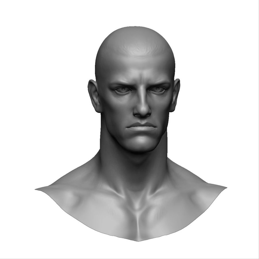 Strong man head royalty-free 3d model - Preview no. 3