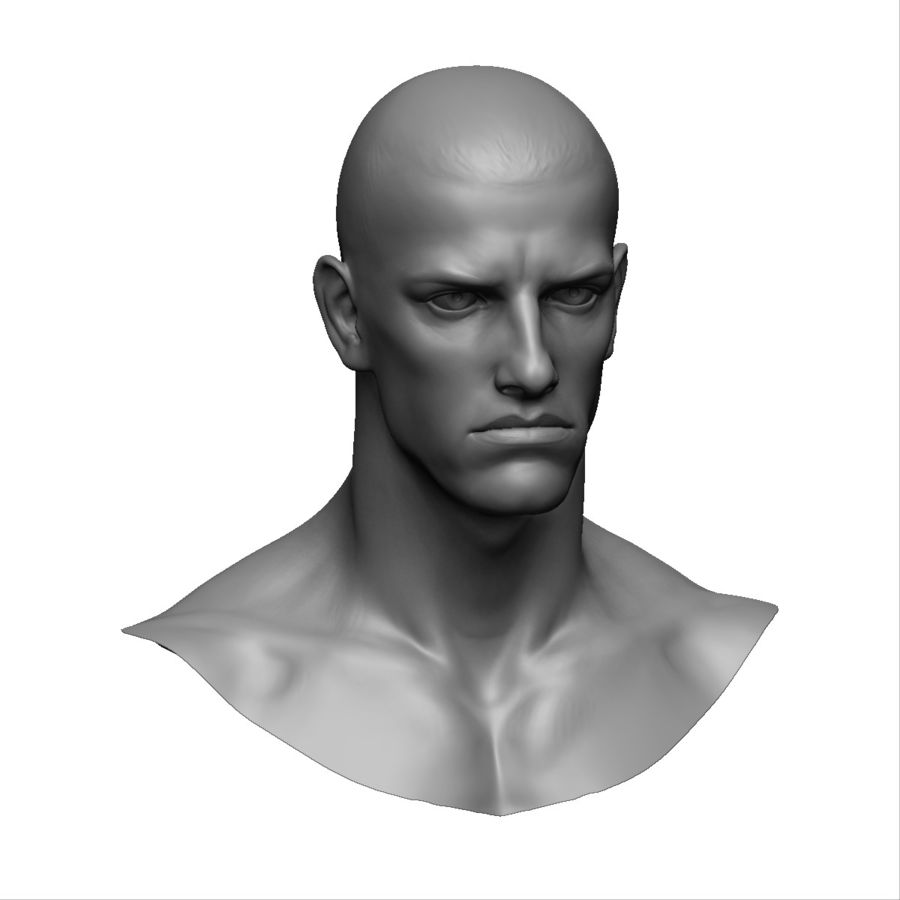 Strong man head royalty-free 3d model - Preview no. 1