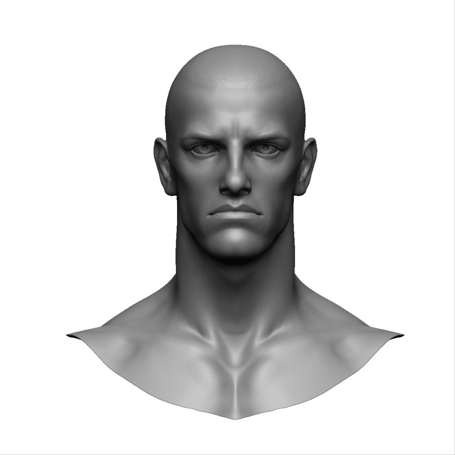 Strong man head royalty-free 3d model - Preview no. 2