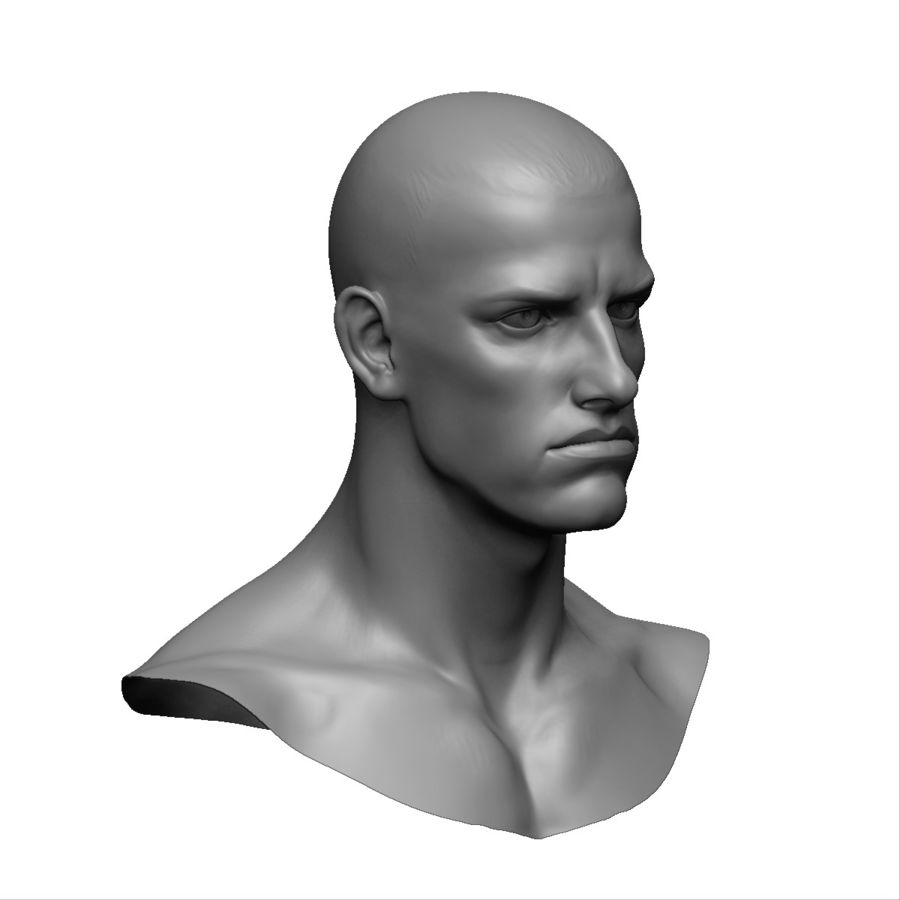 Strong man head royalty-free 3d model - Preview no. 6