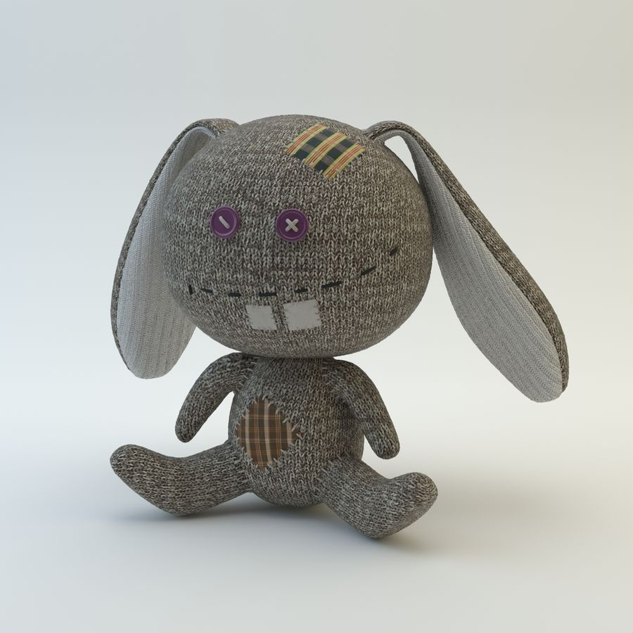 Sock Rabbit royalty-free 3d model - Preview no. 3