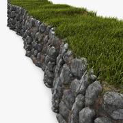 Niedrige natürliche Steinmauer 3d model