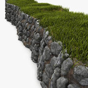 Low Natural Rock Wall Stonewall 3d model