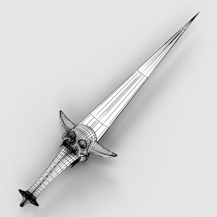 Skull Dagger royalty-free 3d model - Preview no. 7