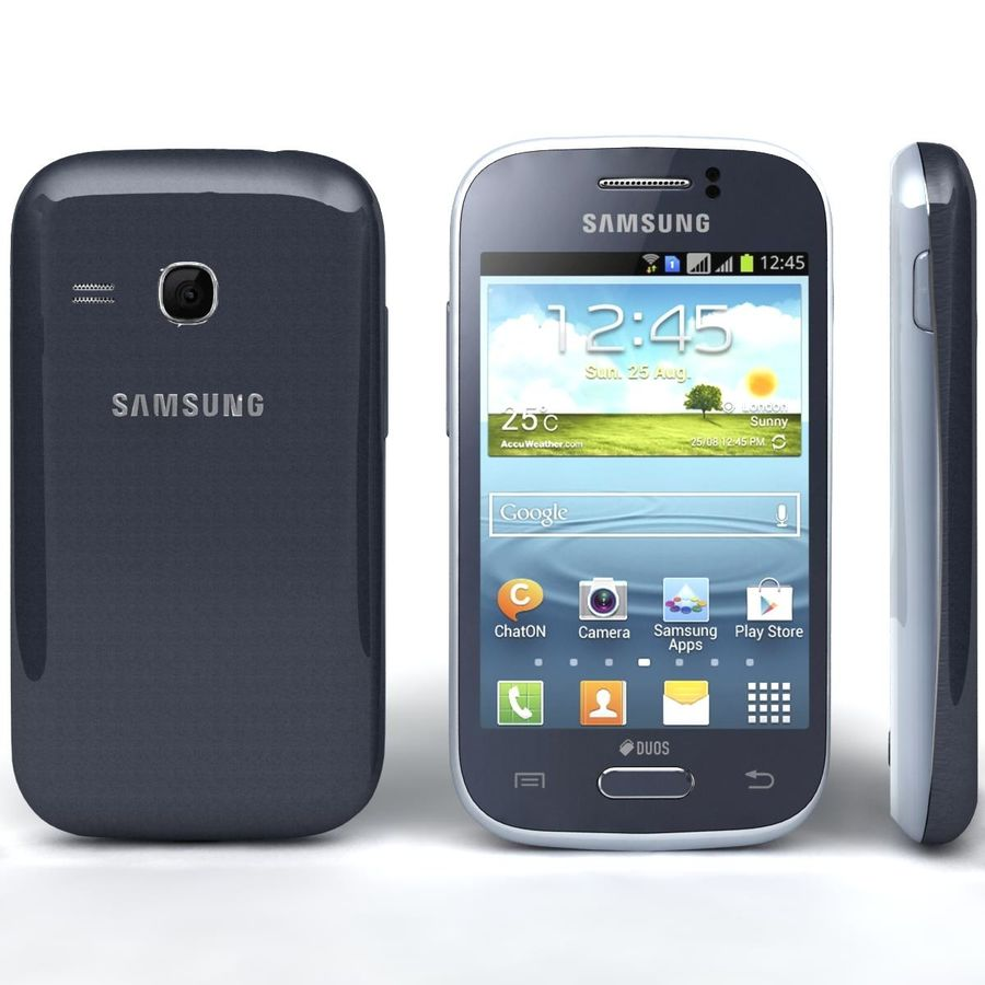 Samsung Galaxy Young S6310 Blue royalty-free 3d model - Preview no. 4