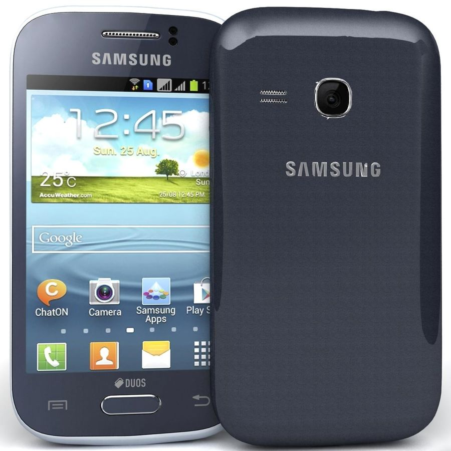 Samsung Galaxy Young S6310 Blue royalty-free 3d model - Preview no. 3