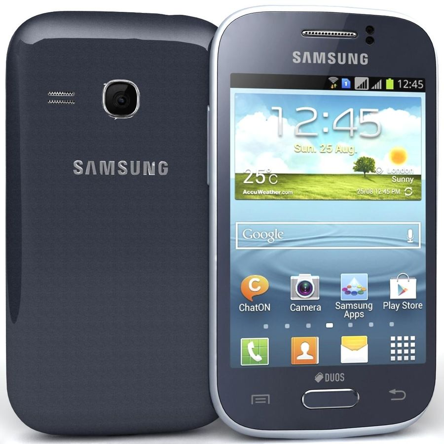 Samsung Galaxy Young S6310 Blue royalty-free 3d model - Preview no. 2