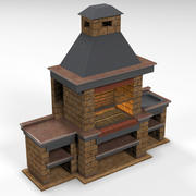 Barbecue en brique 3d model