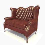2 Seater Dark Leather Scroll Chair 3d model