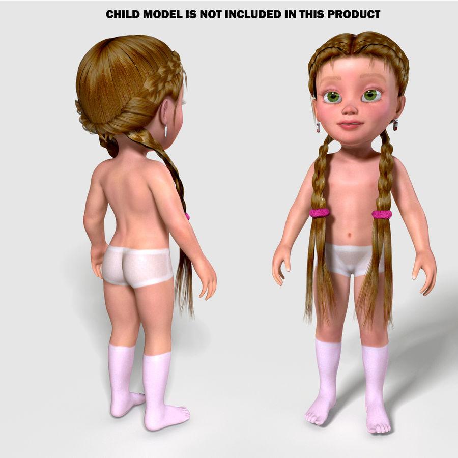 Fryzura dziewczyny royalty-free 3d model - Preview no. 3