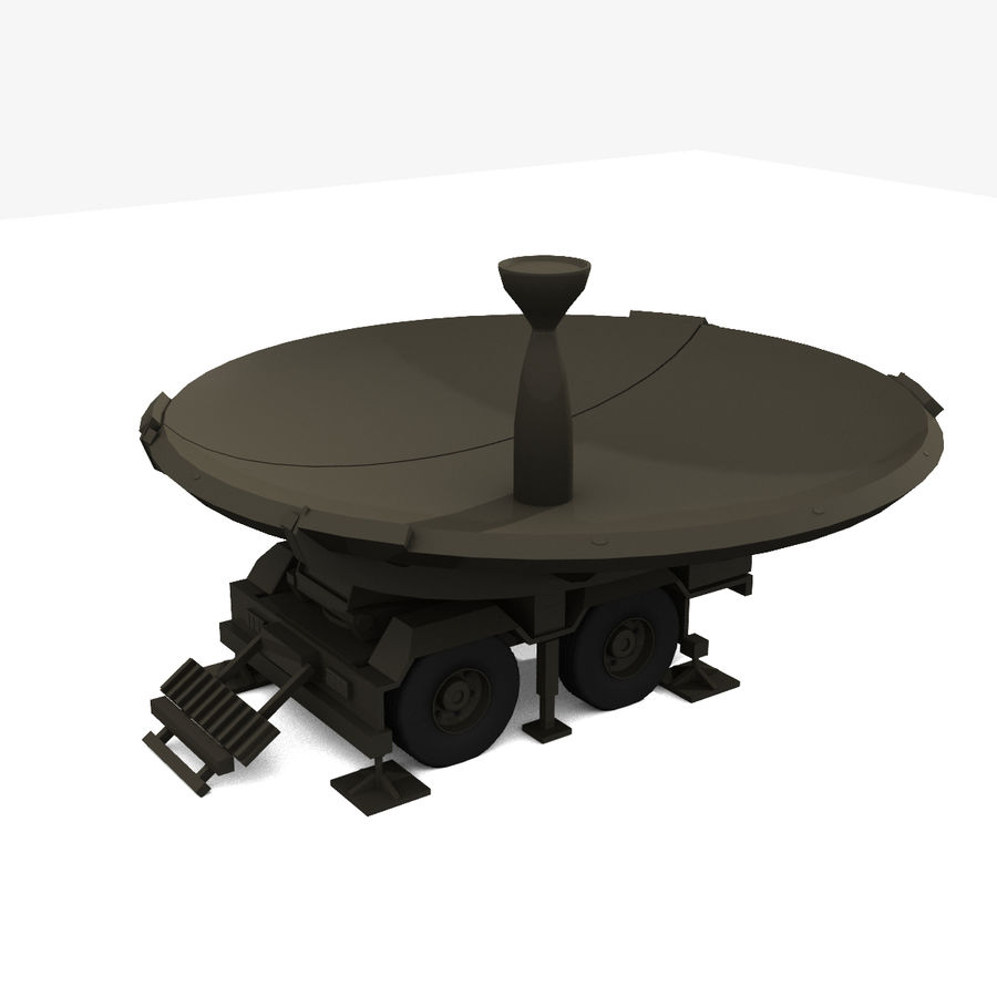 Trailer Mounted Satellite Dish royalty-free 3d model - Preview no. 4