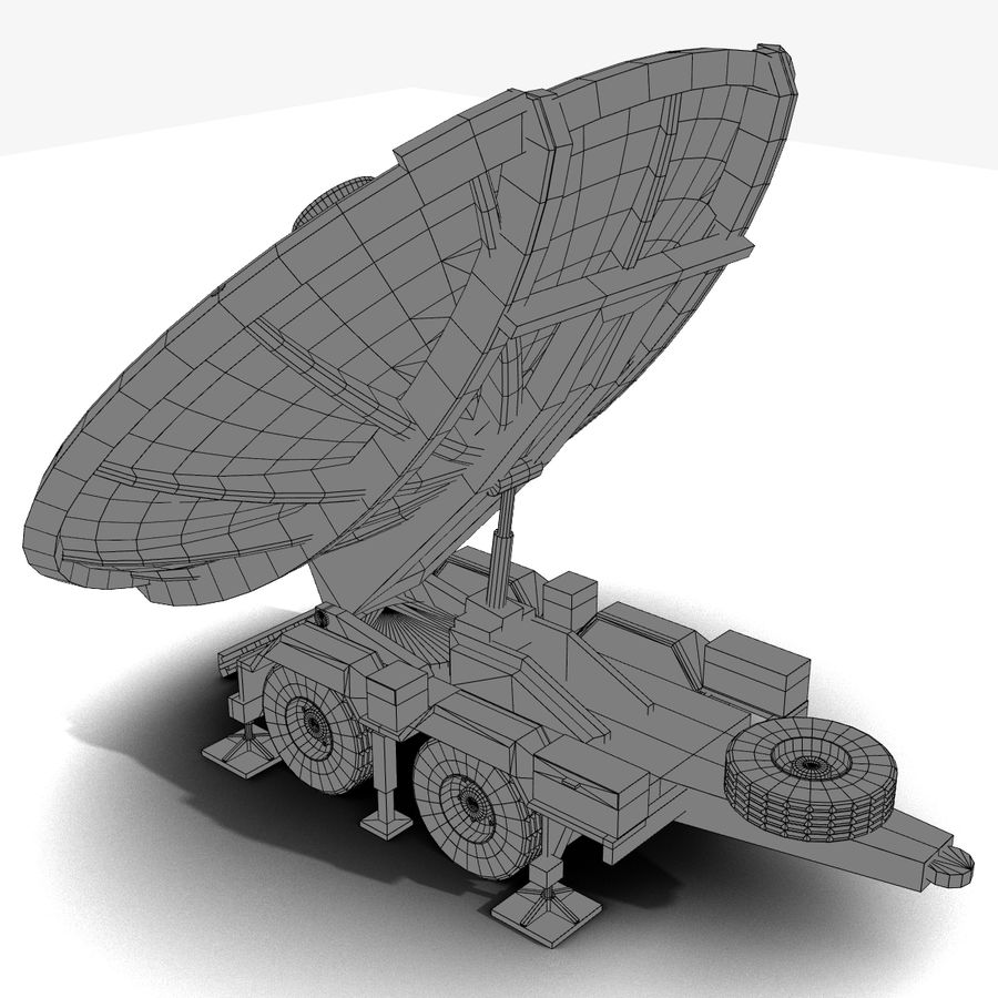 Trailer Mounted Satellite Dish royalty-free 3d model - Preview no. 6