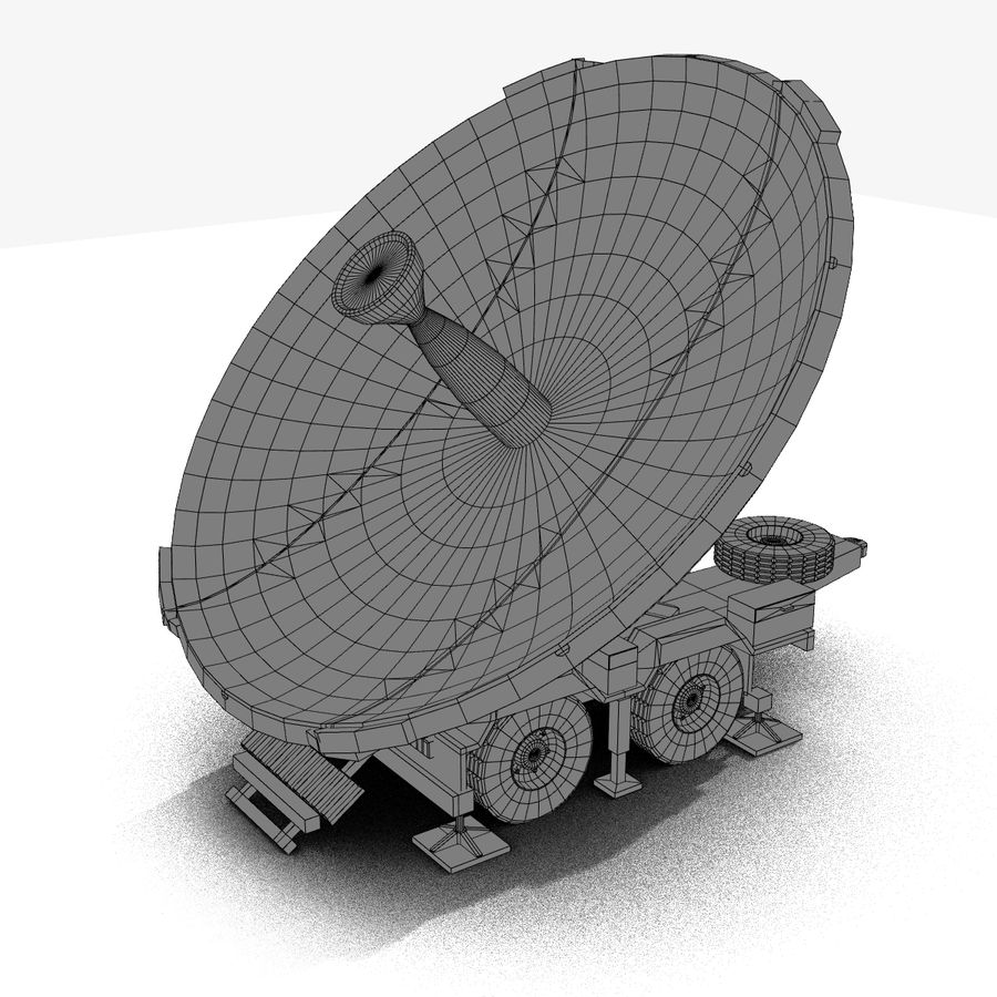 Trailer Mounted Satellite Dish royalty-free 3d model - Preview no. 5