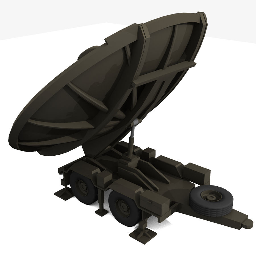 Trailer Mounted Satellite Dish royalty-free 3d model - Preview no. 2