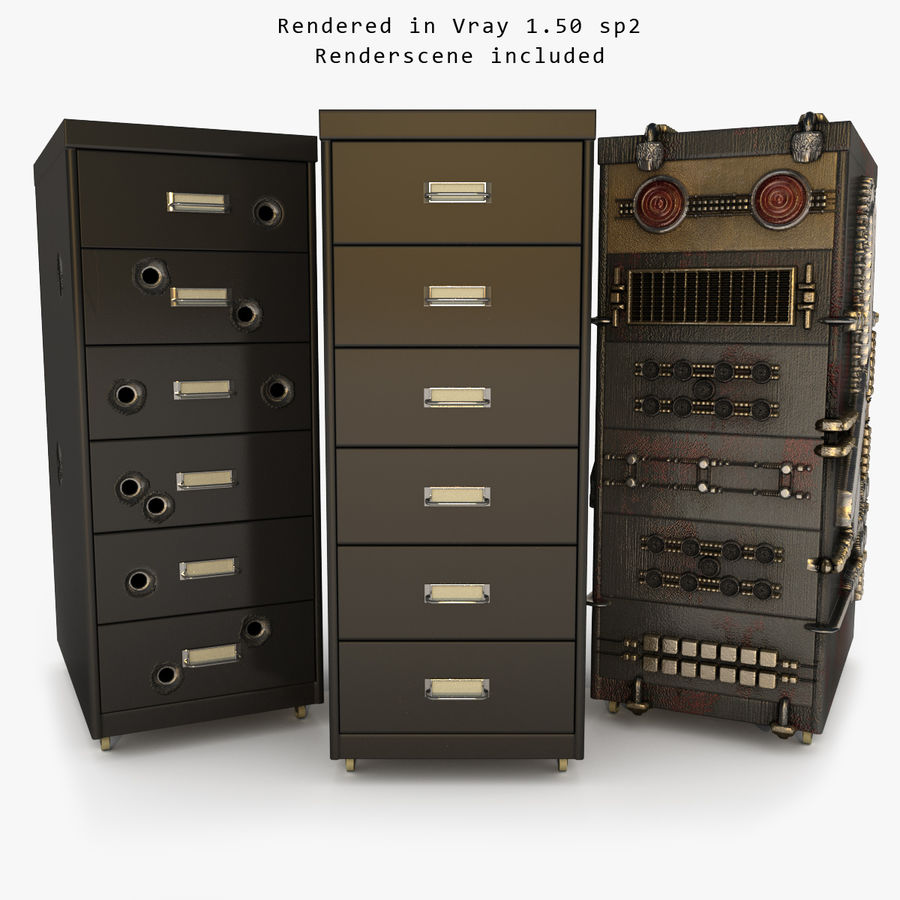 Office Cabinet Drawer Pack royalty-free 3d model - Preview no. 2