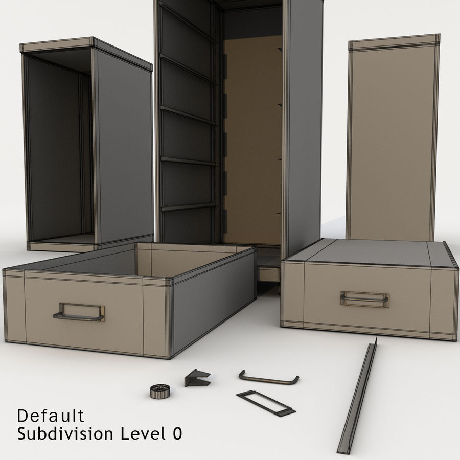 Office Cabinet Drawer Pack royalty-free 3d model - Preview no. 10