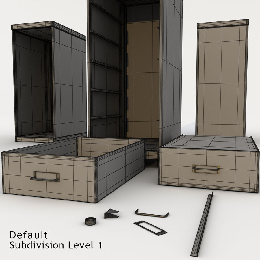 Office Cabinet Drawer Pack royalty-free 3d model - Preview no. 11