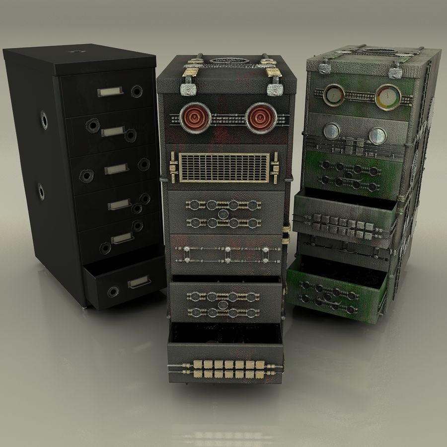 Büroschubladen-Pack royalty-free 3d model - Preview no. 7