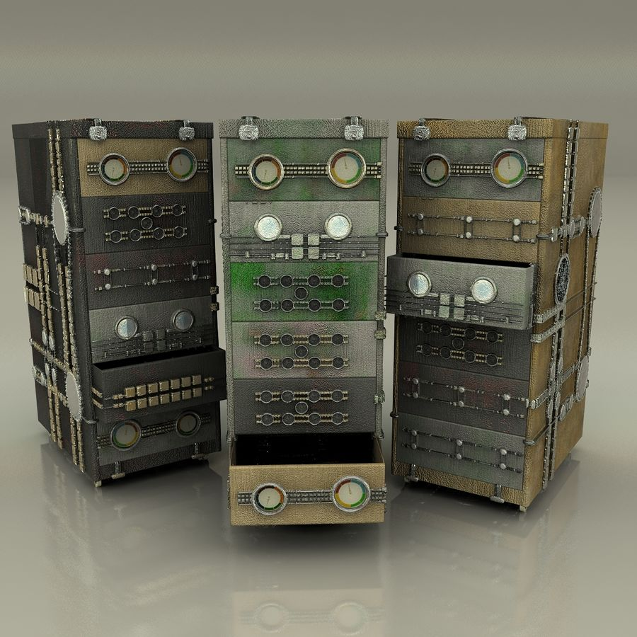Office Cabinet Drawer Pack royalty-free 3d model - Preview no. 7