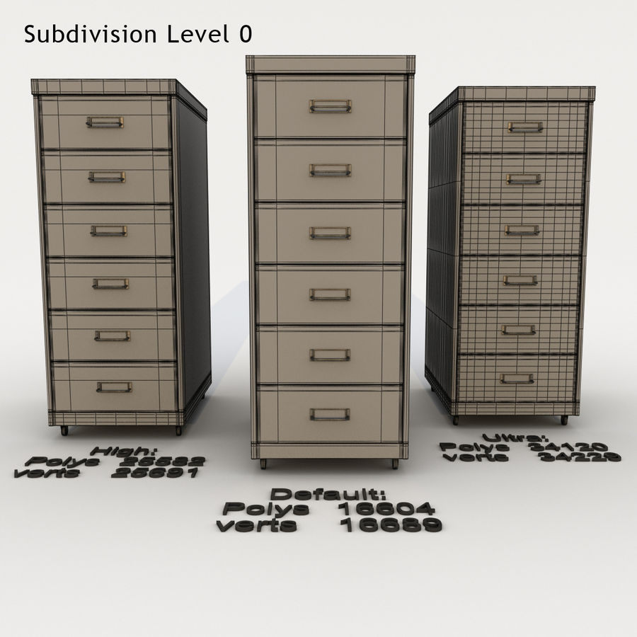 Office Cabinet Drawer Pack royalty-free 3d model - Preview no. 9
