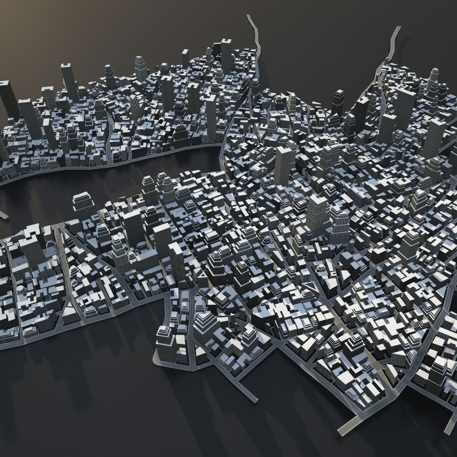 Big city 02 royalty-free 3d model - Preview no. 1